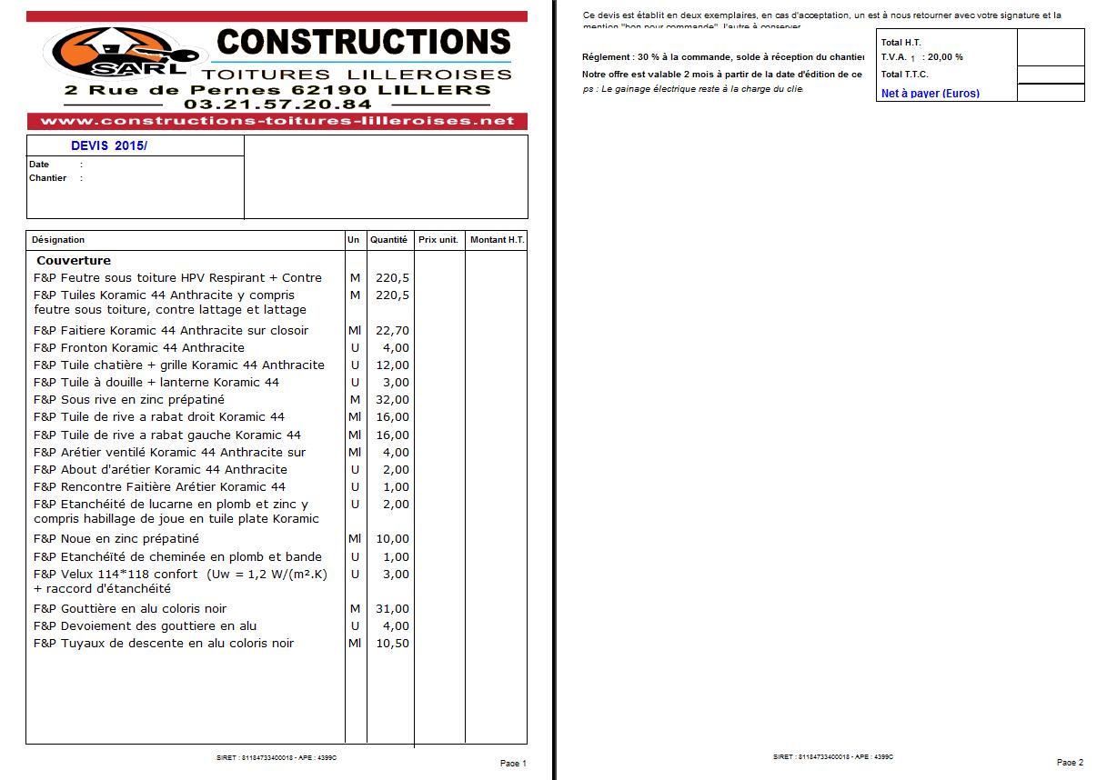 Suivre une construction - Devis detaille construction maison ...